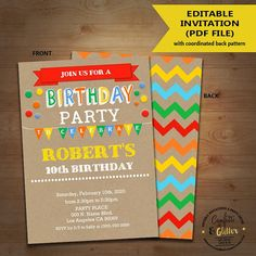 Birthday Party Invitation Bash Primary Colors Kraft