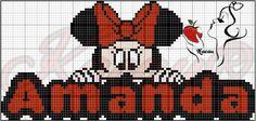 Cross Stitch Embroidery, Embroidery Patterns, Cross Stitch Patterns, Mickey Y Minnie, Minnie Mouse, Name Art, Girl Names, Crochet Shawl, Pattern Art