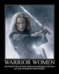 Fantasy pic, woman warrior quote sword cleavage