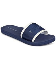 e6e1e4666da8 Tommy Hilfiger Women s Mery Slide Sandals - Blue 10M Blue Sandals
