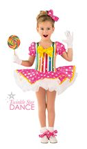 Holodot striped spandex leotard with attached sleeves. Attached polka dot sateen over white tricot tutu. Bow and ribbon trim. Bow headpiece and ribbon shoe ties included. Dance Recital Costumes, Ballet Costumes, Lollipop Costume, Dance Outfits, Kids Outfits, Tomboy Outfits, Emo Outfits, Dance Dresses, School Outfits