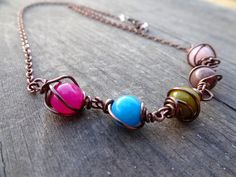Candy Fun Copper Wire Wrapped Multicolored Quartz by LuvAlisa, $25.00