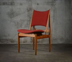"Finn Juhl, set of 6 ""Egyptian"" side chairs for Niels Vodder, made of teak and wool upholstered. From Denmark, provenance: Copenhagen, circa 1960 Side Chairs, Copenhagen, Chen, Danish, Denmark, Egyptian, Teak, Wool, Furniture"