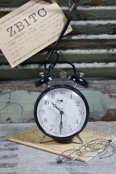 Vintage black alarm clock