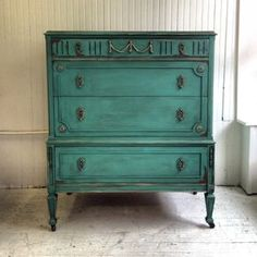 Gatsby Dresser~mix your own colors with Chalk Paint® decorative paint by Annie Sloan and create a vibrant turquoise color with Provence & Florence | By stockist Maison Decor of Reading, MA