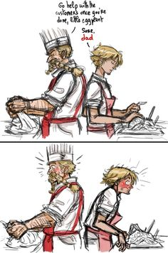 Zeff and Sanji...ok this has to have happened at least once- for those who don't get this Zeff isnt REALLY Sanjis dad but i mean.. Close enough right?