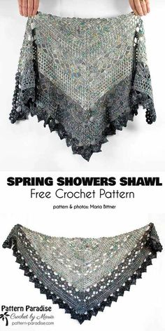 Crochet shawl 345862446385468891 - Spring Shower Shawl Free Crochet Pattern Source by LauraLeCaillou Pull Crochet, Crochet Shawl Free, Crochet Shawls And Wraps, Crochet Scarves, Crochet Clothes, Crochet Stitches, Knit Shawls, Hat Crochet, Knitting Scarves