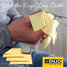 Meet the ENJO Lens Cloth! This is the little wonder makes a big difference for those that wear glasses. It's also loved around the world for its scratchless, thorough cleaning power on device screens, Lenses, Meet, Screens, Cleaning, Tin, Glasses Sun, How To Make, Stuff To Buy, Beauty Skin