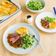 Spiced Lamb Rumps with Cheesy Bake and Gravy Lamb Recipes, Healthy Recipes, Healthy Food, Colby Cheese, Broccoli And Cheese, Baby Spinach, Gravy, I Foods, Salsa