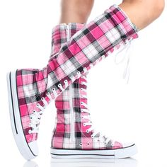 Pink Plaid Lace Up Knee High Boots Canvas Sneakers Womens Skate Shoes totes caute!!!!!   :D