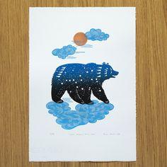 linocut print: Ursa Major / Gold Hour / ateliermisko
