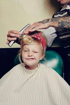 Little girl with pinup hair!!