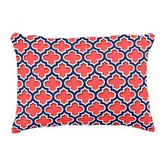 Coral Red Navy 5c Moroccan #5DS Decorative Pillow