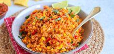 Mexicaanse rijst | Klaar in 30-35 min! - Lekker en Simpel Polenta, Gnocchi, Risotto, Quinoa, Rice Dishes, Min, Fried Rice, I Foods, Slow Cooker