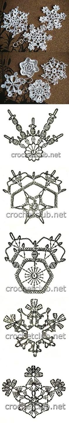 Free crochet snowflake ornament patterns. Would love to try.