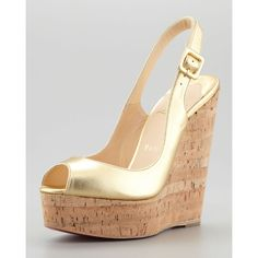 Christian Louboutin Cork Slingback Wedge, Gold ($625) ❤ liked on Polyvore