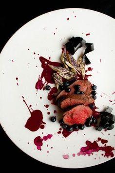 Venison Tenderloin, Huckleberries, Huckleberry Leather, Dragon Tongue Beans, Beet, Caramelized Onion