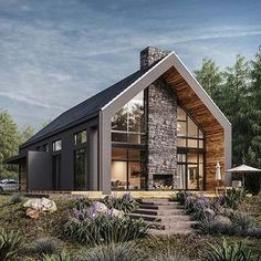 Yet another single-family house visualized for a polish client! Modern Barn House, Modern House Design, Modern Cabins, Barn House Plans, Villa Design, Home Building Design, Building A House, Future House, Modern Farmhouse Exterior