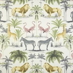Prestigious Textiles Longleat Acacia fabric<br />We recommend a sample of this fabric if colour is important to you as colours on different screens may vary. Cotton Curtains, Curtain Fabric, Cotton Fabric, Fabric For Sale Online, Prestigious Textiles, Vintage Curtains, Tropical Pattern, Acacia, Soft Furnishings