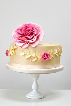 pearlised giant rose birthday cake  by Rosalind Miller Cakes