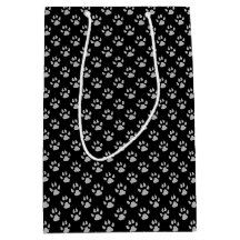 Black Dog Paw Print Gift Bag