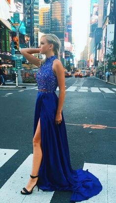 two piece long prom dress, 2017 prom dress, royal blue prom dress, two piece long royal blue prom dress with slit, formal evening dress