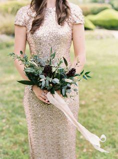 Gold sequin bridesmaid dress: http://www.stylemepretty.com/2015/07/22/organic-elegant-historic-home-wedding/ | Photography: Apryl Ann - http://www.aprylann.com/