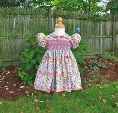 Size 1T hand smocked dress Rose and blue flowers Toddler