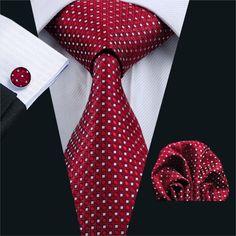 FA-709 Mens Tie Red Geometric Silk Jacquard Neck tie Tie Hanky Cufflinks Set Ties For Men Business Wedding Party Free Shipping