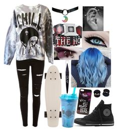 """(☆^ー^☆)(☆^ー^☆)"" by hold-on-til-may on Polyvore featuring Hot Topic, Converse, Disney, Maybelline and NOVICA"