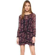 Twelfth St. by Cynthia Vincent Drop Waist Boho Mini Dress (€275) ❤ liked on Polyvore featuring dresses, vintage floral, vintage dresses, purple dress, purple long sleeve dress, floral dress and long sleeve chiffon dress