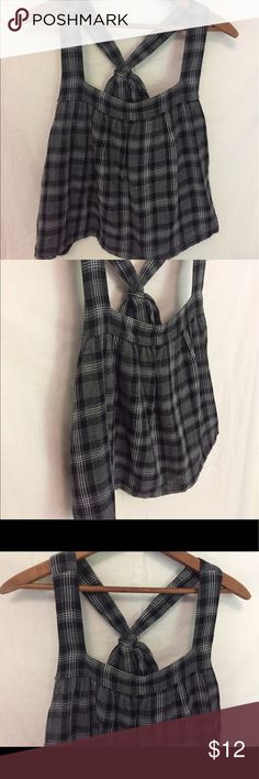 "Black plaid Tank with Bow Medium Black Plaid Cotton Crop Tank. Has bow in the back . 19"" long Cope Tops Crop Tops"