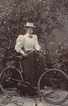 Unknown Woman In Bicycle Attire 1890's. I need to get an outfit like this to wear the next time I'm out on the Silver Comet Trail.