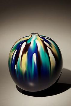 Tokuda Yasokichi III  1933 - 2009  Globular kutani vase with small raised mouth 'dripping' glaze decoration, 1999   Kutani porcelain with blue, eggplant, mustard, and turquoise glazes