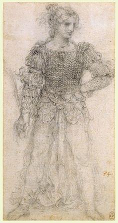 Leonardo da Vinci, 1452-1519, Italian, A standing masquerader, c.1517-18. Black chalk. Royal Collection Trust, Windsor. High Renaissance.