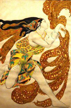 Бакст Лев. 1866-1924. Беотийка. Эскиз костюма к балету «Нарцисс». Около 1911…