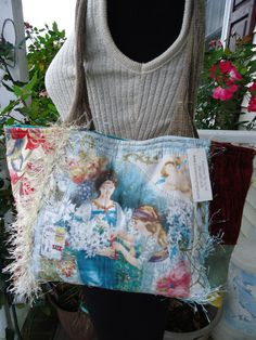 Elegant  Collage  ART Purse with various Renaissance Ladies Fabric Eyelash yarn Lace was 69 SALE. $35.00, via Etsy.