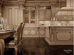 Lacquered custom solid wood kitchen with island ROMANTICA - LACQUERED AND PATINATED