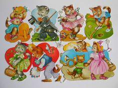 Scraps PZB 1294 Cats Playing Vintage Glanzbilder Bogen Die-Cuts Decoupis Oblaten #DecoupageEmbellishmentsCardmakingOblaten