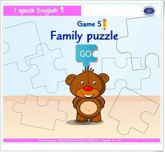 """""""Family puzzle"""" es un juego de """"I speak English 1"""", de Casa Editorial Mundo de Niños S.A.S., orientado al desarrollo del vocabulario oral y escrito en inglés relacionado con la familia."""