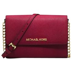 Pre-owned Michael Kors Jet Set Leather Large Travel Phone Cherry Cross... ($125) ❤ liked on Polyvore featuring bags, handbags, shoulder bags, cherry, michael kors purses, purple leather shoulder bag, leather purse, purple leather purse and leather shoulder bag