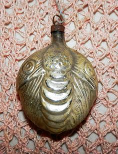 Antique Moth Butterfly Victorian Mercury Blown Glass Christmas Ornament Silver
