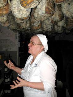 """Miriam, Chef and Proprietor of """"Trattoria La Buca"""" in Zimbello, in the cellar of the culatelli."""