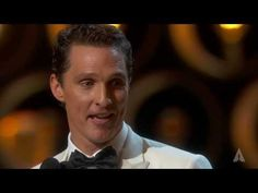 """Jennifer Lawrence presenting Matthew McConaughey with the Oscar® for Best Actor for his performance in """"Dallas Buyers Club"""" at the Oscars® in Matthew McConaughey winning Best Actor Inspirational Speeches, Motivational Speeches, Matthew Mcconaughey, Oscar Speech, Dallas Buyers Club, Best Wedding Speeches, Acceptance Speech, Thank God, Jennifer Lawrence"""