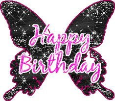Happy Birthday Butterflies | happy birthday - pink letters black butterfly