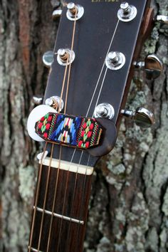 Native Woven and Brown Leather Handstitched On Guitar Pick Holder For Banjo/Mandolin/Ukulele/Guitar - Gifts For Musicians