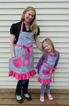 Hot Pink and Zebra Print Mother Daughter Apron Set by NessasNest