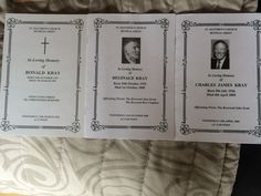 3 funeral order of service cards I own, Ron Krays is the original