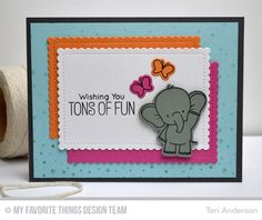 Adorable Elephants, Snowfall Background, Adorable Elephants Die-namics, Stitched Mini Scallop Rectangle STAX Die-namics - Teri Anderson #mfstamps