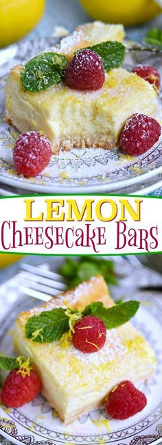 My Aunt Pam's Lemon Cheesecake Bars are made with lots of fresh lemon juice and zest so they're bursting with lemon flavor! Extra creamy, super easy and always a crowd pleaser! Top with powdered sugar, fresh raspberries, and extra lemon zest for a pretty presentation! // Mom On Timeout